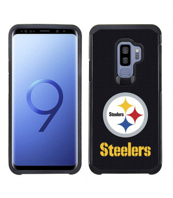 Prime Brands Group Textured Team Color Cell Phone Case for Samsung Galaxy S9 Plus - NFL Licensed Pittsburgh Steelers