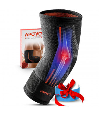 APOYO Elbow Brace for Tendonitis, Tennis Elbow Brace, Athletic Elbow Support, Basketball, Weightlifting, More, with Adjustable Strap and Bonus Elastic Therapeutic Tape, Great for Workouts and Sports
