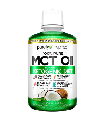Purely Inspired 100% Pure MCT Oil, Sourced from Coconut, Supports Keto and Paleo Diets, Non-GMO, Gluten Free, Unflavored, 31 Servings (16oz)