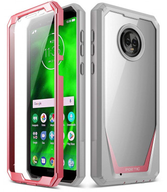 Moto G6 Case, Poetic Guardian [Scratch Resistant Back] [360 Degree Protection] Full-Body Rugged Clear Hybrid Bumper Case with Built-in-Screen Protector for Motorola Moto G6 Pink