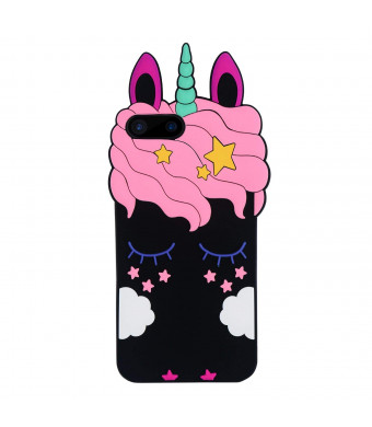 Joyleop Black Unicorn Case for iPhone 7 Plus 8 Plus,Cartoon Soft Silicone Cute 3D Fun Cover,Kawaii Unique Kids Girls Cases,Fashion Animal Character Skin,Gel Shockproof Shell iPhone 7G8G Plus + 5.5""