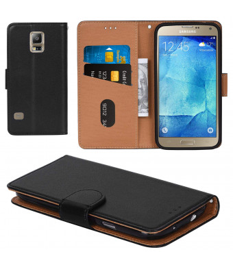Galaxy S5 Case, Aicoco Flip Cover Leather, Phone Wallet Case for Samsung Galaxy S5 (5.1 inch) - Black