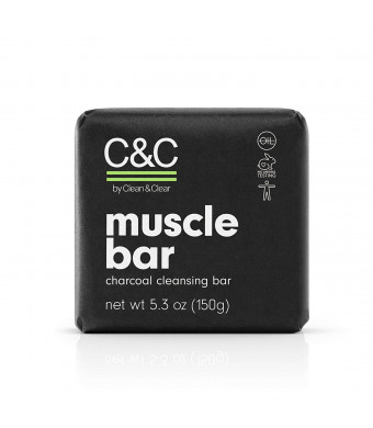 CandC by Clean and Clear Muscle Bar Charcoal Cleansing Bar, Exfoliating, Oil-Free, Eucalyptus Scented Everyday Face and Body Soap, Not Tested On Animals, net wt 5.3 oz