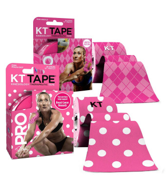 KT Tape PRO Synthetic Elastic Kinesiology 20 Pre-Cut 10-Inch Strips (2-Pack)