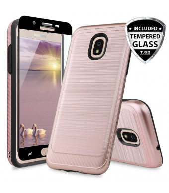 TJS Galaxy J7 2018/J7 Refine/J7 Star/J7 Eon/J7 TOP/J7 Aero/J7 Crown/J7 Aura/J7 V 2nd Gen Case [Full Coverage Tempered Glass Screen Protector] Case Metallic Brush Finish Inner Layer (Rose Gold)