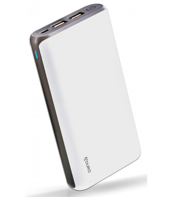 Aduro 20,000mAh Battery Pack Power Bank, External Battery Charger Compatible iPhone Android Smartphone Tablet Portable Power Backup Charges Any USB Device (White)