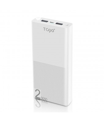 TG90 Portable Charger 20000mAh Power Bank Battery Charger External Battery Pack Compatible with iPhone X 8/8 Plus 6/ 6S Plus 5S iPad iPod Tablets Cell Phone Charger (White)