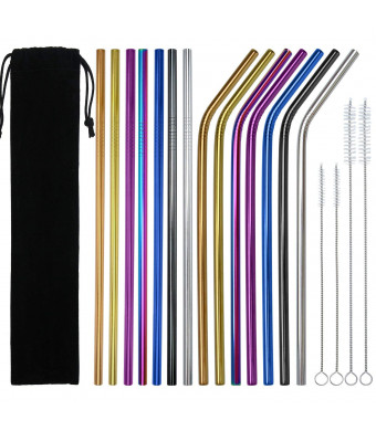 Coobey 14 Pieces Stainless Steel Drinking Straws Reusable Metal Bent and Straight Straws with 4 Pack Cleaning Brushes and Storage Pouch, 7 Colors