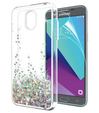 Galaxy J3 2018 Case,J3 Eclipse 2/J3 Orbit/J3 Achieve/j3 Express Prime 3/J3 Prime 2/Amp Prime 3/j3 emerge 2018 Case with HD Screen Protector, SunStory Moving Shiny Quicksand Glitter Design (Silver)