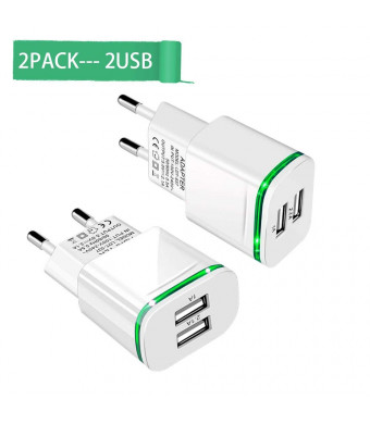 European Plug Adapter,Capkit Universal 2-Pack Dual Port LED Europe USB Charger Plug Travel Power Adapter for iPhone X 8/7/6/6S Plus 5S,iPad,Samsung Galaxy S8 Plus S7/S6 Edge, HTC, LG and More