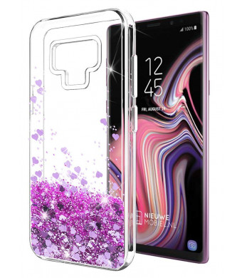 Galaxy Note 9 Case SunStory Luxury Fashion Design with Moving Shiny Quicksand Glitter and Double Protection with PC Layer and TPU Bumper Case for Samsung Galaxy Note 9 Phone (Purple)