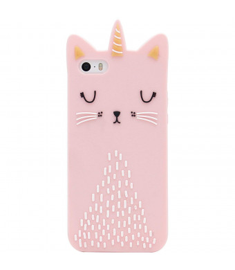 Artbling Cat Unicorn Case for iPhone 5 5S 5C SE Silicone 3D Cartoon Animal Pink Cover,Kids Girls Cool Lovely Cute Love Cases,Kawaii Soft Gel Rubber Unique Character Fashion Funny Protector for iPhone5