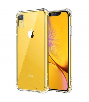 MoKo Compatible iPhone XR Case, Crystal Clear Reinforced Corners TPU Bumper + Anti-Scratch Hybrid Rugged Transparent Hard Panel Cover Fit Apple iPhone XR 6.1 inch 2018 - Crystal Clear