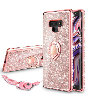 VEGO Samsung Galaxy Note 9 Case Glitter Bling Diamond Rhinestone Bumper Sparkly Protective Grip Case with Kickstand Ring Stand for Women Girls (Rose Gold)