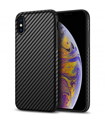 Tasikar Compatible iPhone Xs Max Case Good Grip Slim Carbon Fiber Leather Case iPhone Xs Max (2018) - Black