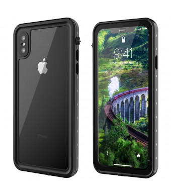 iPhone Xs Max Case, Snowfox Built-in Screen Protector Cover 360 Degree Protection Compatible with iPhone Xs Max Case 6.5 Inch 2018 Released (Black/Clear