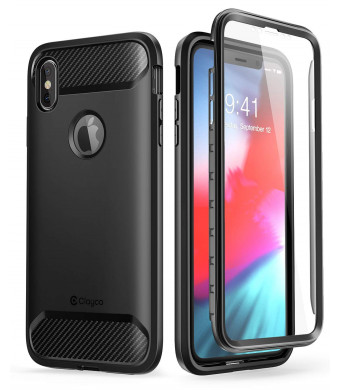 iPhone XS Max Case, Clayco [Xenon Series] Full-body Rugged Case with Built-in Screen Protector for Apple iPhone XS Max 6.5 Inch 2018 (Black)