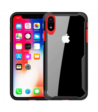 newoer iPhone Xs Max Case, Heavy Duty Shock Absorption Protective Case, Soft Interior TPU Bumper Cover + Durable Hard Shell PC Back Hybrid Slim Case for Apple iPhone Xs Max 6.5 Inch 2018(Black+Red)