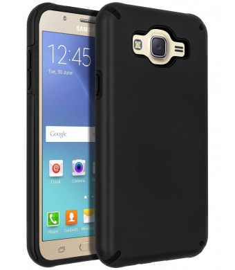 Galaxy J7 (2015) Case,Galaxy J7 Case,SENON Slim-fit Shockproof Anti-Scratch Anti-Fingerprint Protective Case Cover for Samsung Galaxy J7 Neo J700,Black