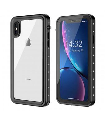 iPhone Xs Max Waterproof Case, Full Body with Built-in Screen Protector Rugged Clear iPhone Xs Max Case,Waterproof Shockpoof Dustproof Case for iPhone Xs Max6.5 inch-Black/Grey