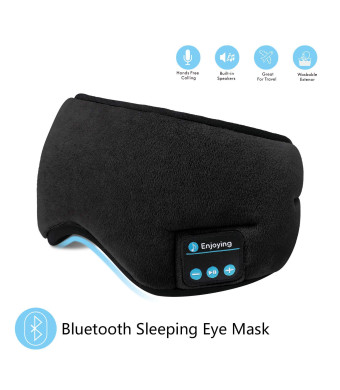 Bluetooth Sleeping Eye Mask Headphones,SKYEOL 4.2 Wireless Bluetooth Headphones AdjustableandWashable Music Travel Sleeping Headset with Built-in Speakers Microphone Hands-Free for Sleeping (Black)