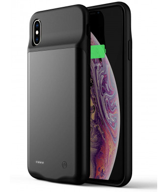 Portable Charger Case iPhone Xs Max(Compatible Wired Earphones),Slim 4000mAh Rechargeable Battery Pack Protective Battery Charging Case iPhone Xs Max