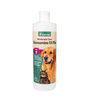 NaturVet Glucosamine DS Plus Level 2 Moderate Care Joint Support Supplement for Dogs and Cats, Liquid, Made in the USA