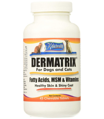 Kala Health Dermatrix 45 Chewable Tablets for Dogs and Cats. Contains MSM, Omega Fatty Acids and Vitamins. All Ingredients are 100% US Sourced and Made.!