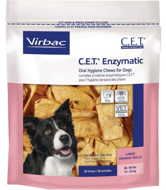 Virbac C.E.T. Enzymatic Oral Hygiene Chews, Medium Dog, 30 Count