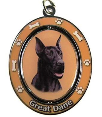 "Great Dane, Black Key Chain ""Spinning Pet Key Chains""Double Sided Spinning Center With Great Danes Face Made Of Heavy Quality Metal Unique Stylish Great Dane Gifts"
