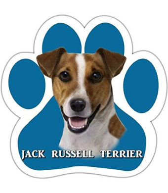 Jack Russell Car Magnet With Unique Paw Shaped Design Measures 5.2 by 5.2 Inches Covered In UV Gloss For Weather Protection