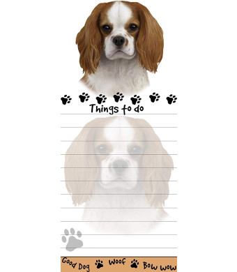 """""""King Charles Cavalier Magnetic List Pads"""" Uniquely Shaped Sticky Notepad Measures 8.5 by 3.5 Inches"""