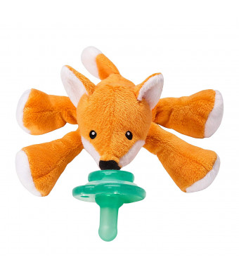 Nookums Paci-Plushies Fox Shakies - Pacifier Holder and Rattle (2 in 1) (Plush Toy Includes Detachable Pacifier, Use with Multiple Brand Name Pacifiers)