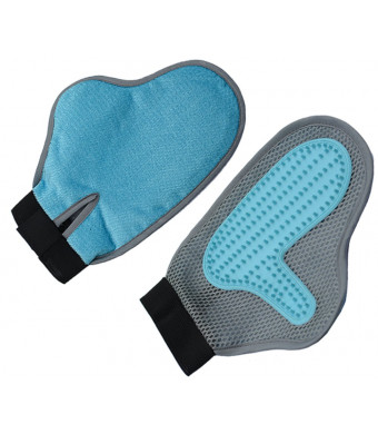 Lanyarco Cat and Dog Grooming Glove Hair and Fur Remover Brush for Shedding Massage, Blue