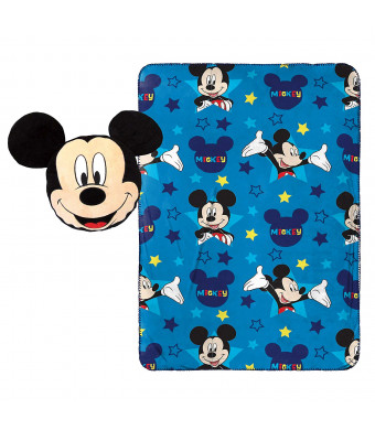 """Jay Franco Disney Mickey Mouse Star Nogginz Pillow with 40"""" x 50"""" Travel Blanket Set"""