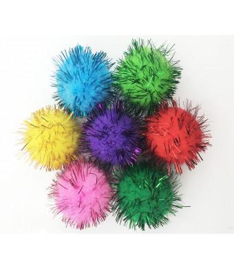 VAPKER 30 Piece Assorted Color Sparkle Balls Cat's Favorite Toy Tinsel Pom Poms Glitter