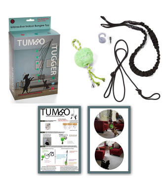 Tumbo's Indoor Tiny Tugger indoor exercise toy for small dogs under 25 lb that are energetic doggies (soft inside toy hangs on limited stretch bungee from your ceiling for fun and safe solo play)