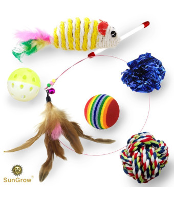 SunGrow Pack Cat Toys - Increases Stimulation - Keeps pet Mentally and Physically Fit - Relieves Boredom and Stress - Prevents unwanted Behavior - Gives Hours of Fun
