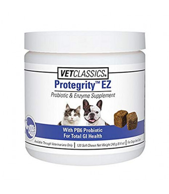 Vet Classics Protegrity EZ Probiotic and Enzyme Supplement for Dogs and Cats, 120 Soft Chews