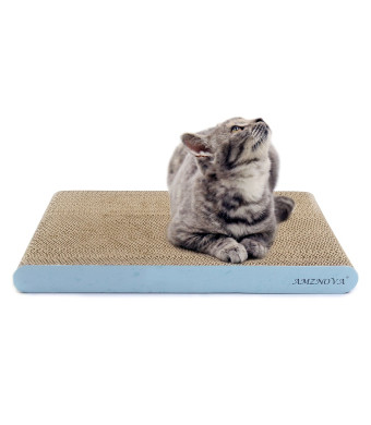 AMZNOVA Cat Scratcher Cardboard Scratching Pads Scratch Lounge Sofa Bed, Baby Blue