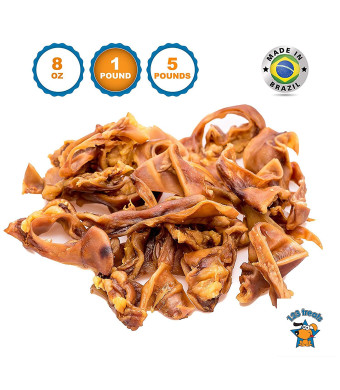 123 Treats - Pigs Ears Strips for Dogs Chews 100% Natural Healthy Pig Ear Slivers Dog Treats Pork Curls Pet Chew
