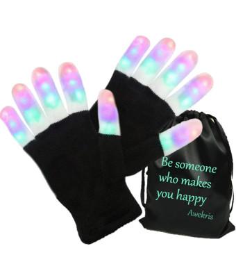 Awekris LED Gloves Finger Lights Toys 3 Colors 6 Modes Colorful Rave Gloves for Party Kids Novelty Light Up Toys