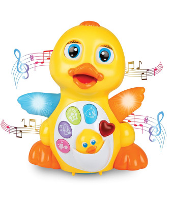 ToyThrill Light Up Dancing and Singing Duck Toy  Infant, Baby and Toddler Musical and Educational Toy - Walks, Glides and Flaps Wings - 6 Songs, Speaking and Sound Effect Modes