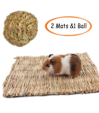 Grass Mat,Woven Bed Mat for Small Animal,Bunny Bedding Nest Chew Toy Bed Play Toy for Guinea Pig Parrot Rabbit Bunny Hamster (Pack of 3)