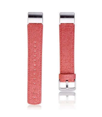 Thankscase Band for Fitbit Charge 2, Genuine Leather Wrist Strap Replacement with Top Quality Spring Bar and Embossed Pattern for 2016 Fitbit Charge 2 (Red)