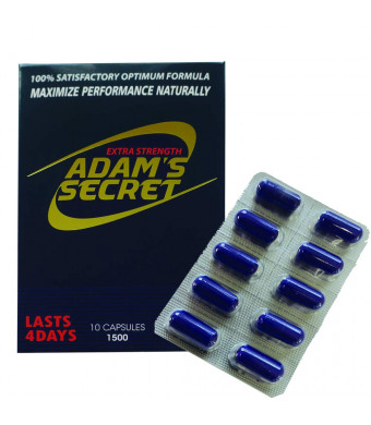 Adams Secret 1500 100% Natural Pills for Performance, Energy, and Endurance 10 Pills Per Pack with Adam's Secret Original Inner Seal