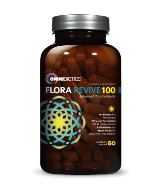 OmniBiotics Flora Revive 100 Probiotic Supplement - 100 Billion CFU and 15 strains per serving, featuring Delayed Release Capsules (DRCaps) plus Prebiotics and L-Glutamine for Digestive Lining Support