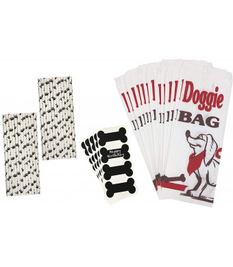 Dog Treat Paper Sacks/Doggie Bags, Dog Bone Vinyl Chalkboard Labels, Paw Print Paper, Puppy Party, Straws Dog Theme Party Supplies Black, White, Red 24 Bags, 24 Labels, 50 Straws