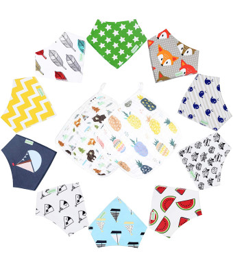 10-Pack Unisex Baby Bandana Drool Bibs for Babies,Toddlers - Organic Cotton Absorbent Bib Bandana