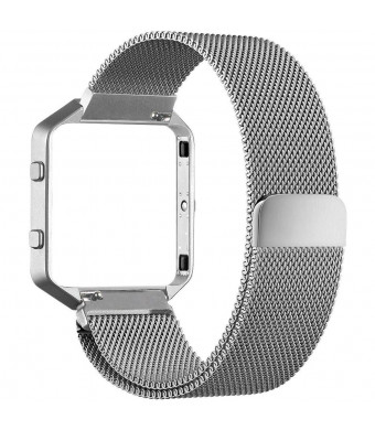 Frler Metal Watch Band Compatible Fitbit Blaze, Milanese Loop Stainless Steel Metal Replacement Bracelet Strap with Magnet Lock + Frame